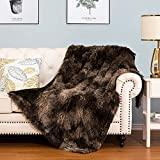 HBlife Luxury Soft Faux Fur Throw Blanket 50' X 60', Solid Reversible Lightweight Shaggy Fuzzy Blanket Plush Fluffy Cozy Decoration Throw Blankets for Couch and Living Room, Tye Die Brown