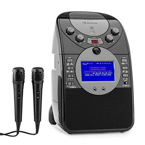 "auna ScreenStar Karaoke, Pantalla TFT de 3.5"", 2 x micrófonos dinámicos, cámara Frontal, Altavoz Integrado, Salida de Video, Reproductor de CD+G, USB, MP3, Negro"