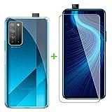 ZXLZKQ Fundas + Protector Cristal Templado para Huawei Honor X10 Pro (6.63 Pulgadas), Transparente Case Silicona Suave Caso TPU Carcasa,Vidrio Película Protectora - Transparente