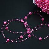 30m Angelschnur, künstliche Perlen, Kette, Garland-Blumen, Hochzeitsparty, Deko, Party-Zubehör elfenbeinfarben - 2