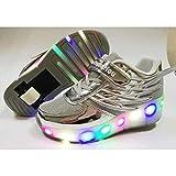 WANGT Nouveau Rose Pas Cher Enfant Mode Filles Garçons LED Lumière Chaussures De Patinage à roulettes pour Enfants Enfants Baskets avec Roues Une Roues,Silver-35