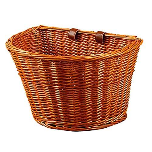 Yusea Cesta de mimbre vintage para bicicleta, cesta de mimbre en forma de D, portátil, tejida a mano, cesta de la compra con correas de cuero