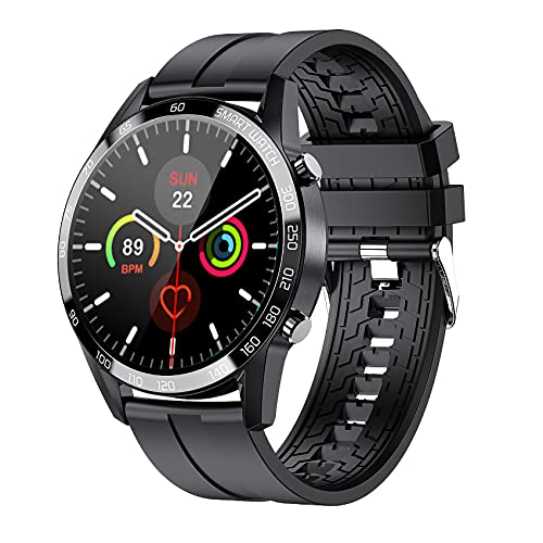 Aney Well Reloj inteligente para hombre, reloj deportivo IP67 resistente al agua, rastreador de fitness con cronómetro, podómetro, pulsómetro, control de música para Android iOS