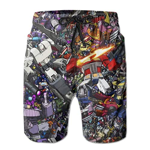 Transformers Mens Beach Board Swim Trunks Drawstring Lined Beach Pants Workout Shorts Print-Medium White