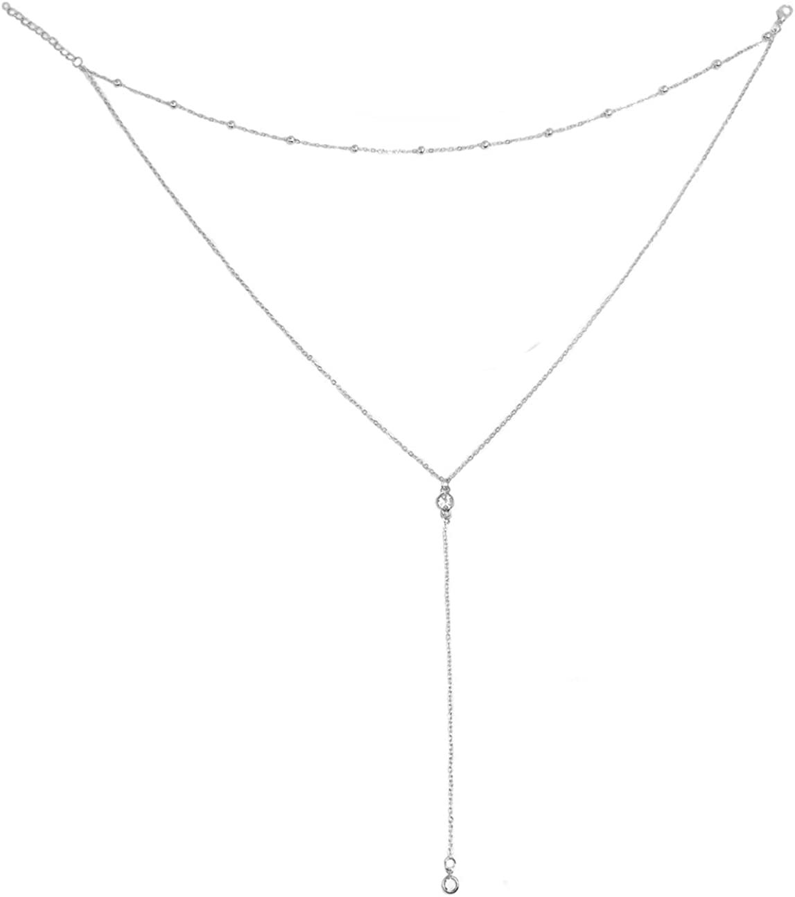 Wowanoo Vintage Double Layer Alloy Crystal Choker Necklace with Long Chain Pendant