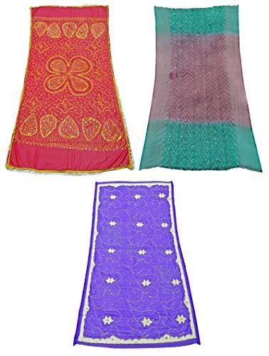 PEEGLI Combo Indio De 3 Piezas Mezcla Georgette Tradicional Dupatta Tela Vintage Patrón De Mezcla De Mujer Chunni Multicolor Estola