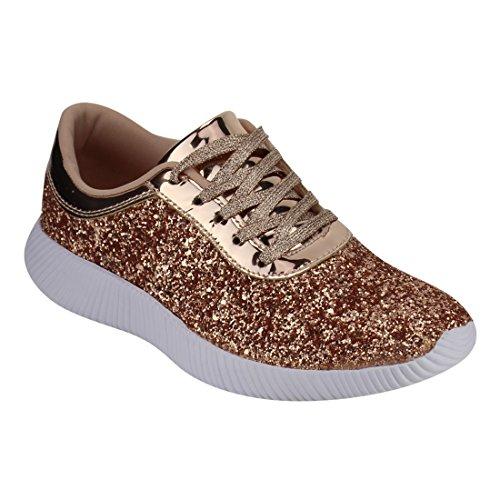 Nature Breeze EM29 Womens Metallic Sparkling Bling Glitter Bomb Fashion Sneaker Color Rose Gold Size:8