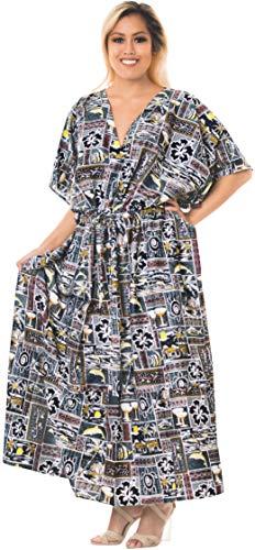 LA LEELA dames Kaftan tuniek gedrukt kimono vrije maat lange maxi party jurk voor loungewear vakantie nachtkleding strand elke dag jurken AZ