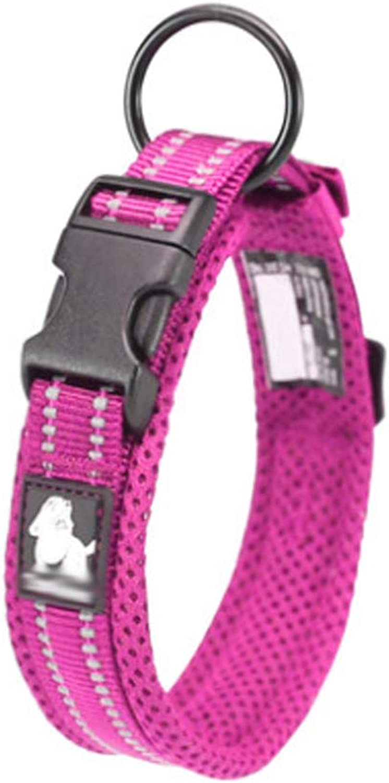 Pet Collar  Dog Collar Small Medium and Large Dog pet Supplies (color   Pink, Size   S)