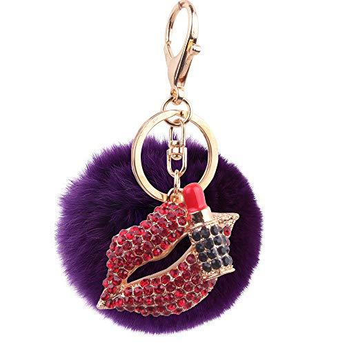 8CmHaar Ball Diamant Lippenstift Rote Lippen Schlüsselanhänger Metall Lila Haare Ball Tasche Ornamente Auto