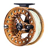 M MAXIMUMCATCH Maxcatch ECO Large Arbor Fly Fishing Reel (3/4wt 5/6wt 7/8wt) and Pre-Loaded Fly Reel with Line Combo (Brown Trout Reel Loaded Moss Green Line, 3/4 Weight)