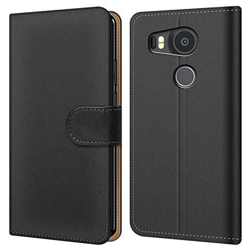 Conie BW2767 Basic Wallet Kompatibel mit Google Nexus 5X, Booklet PU Leder Hülle Tasche mit Kartenfächer & Aufstellfunktion für Nexus 5X Case Schwarz