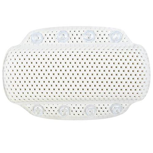 MSV Coussin de baignoire avec 8 ventouses Coussin de nuque Coussin de nuque en mousse PVC souple Blanc 20 x 31 cm Lavable