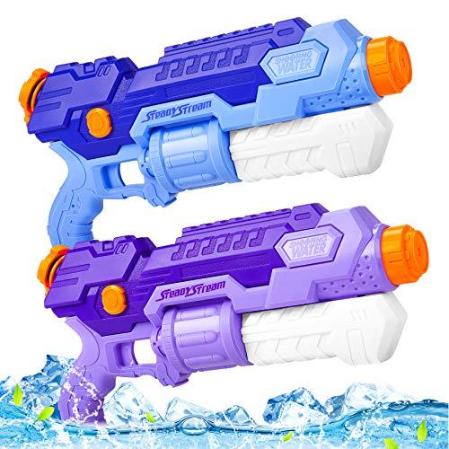 lenbest 2 Pistole ad Acqua Bambini, Pistola a Spruzzo a Lungo Raggio da 10M, Festa in Giardino Piscina Giochi Spiaggia Adatto Ragazzi E Ragazze Giovani Adulti (1000ml)