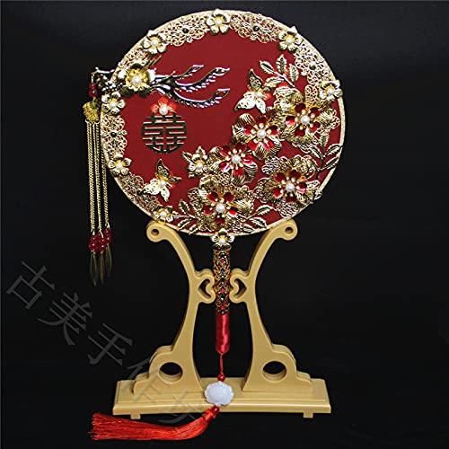 WANJIA Abanico Nupcial Chino Tradicional Novia Borla Abanico Vintage Redondo De Mano...
