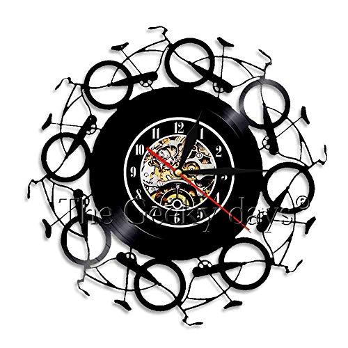 rrff Reloj de pared con diseño de bicicleta en 3D Life Is Better On A Bike Art Decor Reloj retro de vinilo récord de tiempo de guardería Decoración de pared sin luz