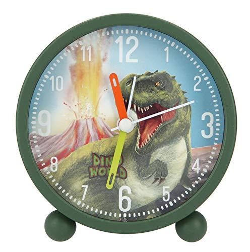 Depesche 8838 Dino World, analoger Wecker für Jungen, grün, lautlos und mit Lichtfunktion, batteriebetrieben, bunt