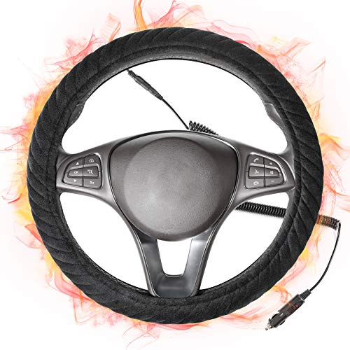 SEG Direct Heated Steering Wheel Cover with 14.5 inches-15 inches...