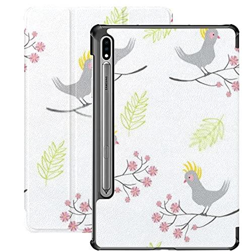 Funda para Galaxy Tab S7 Funda Delgada y Ligera con Soporte para Tableta Samsung Galaxy Tab S7 de 11 Pulgadas Sm-t870 Sm-t875 Sm-t878 2020 Release,Parrot Bird Branch Flowers