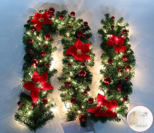 Jnseaol Garlands Wreaths 2.7M Stairs Fireplace Window Christmas Tree Office Mall Decoration Christmas Flower Led Glow,Red Lighted