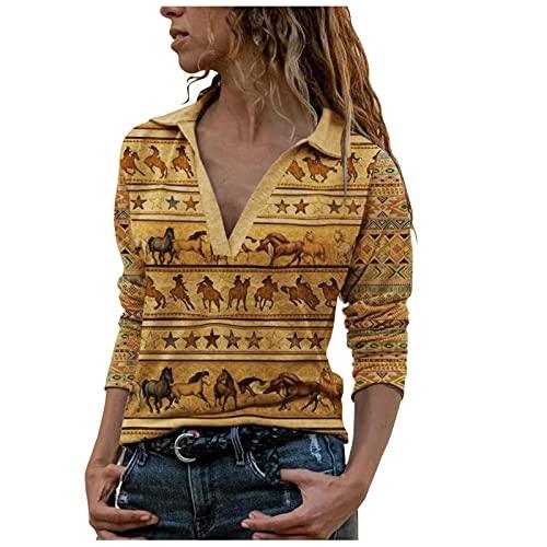 VEMOW Camisas Mujer Nuevo Blusas para Mujer Tops Camisetas Camisa de Entrenamiento Cremallera Manga Larga, Elegantes Moda Estampado Suelta Sudadera Tapas Geométrico Cuello en V Ropa(L01 Amarillo,S)