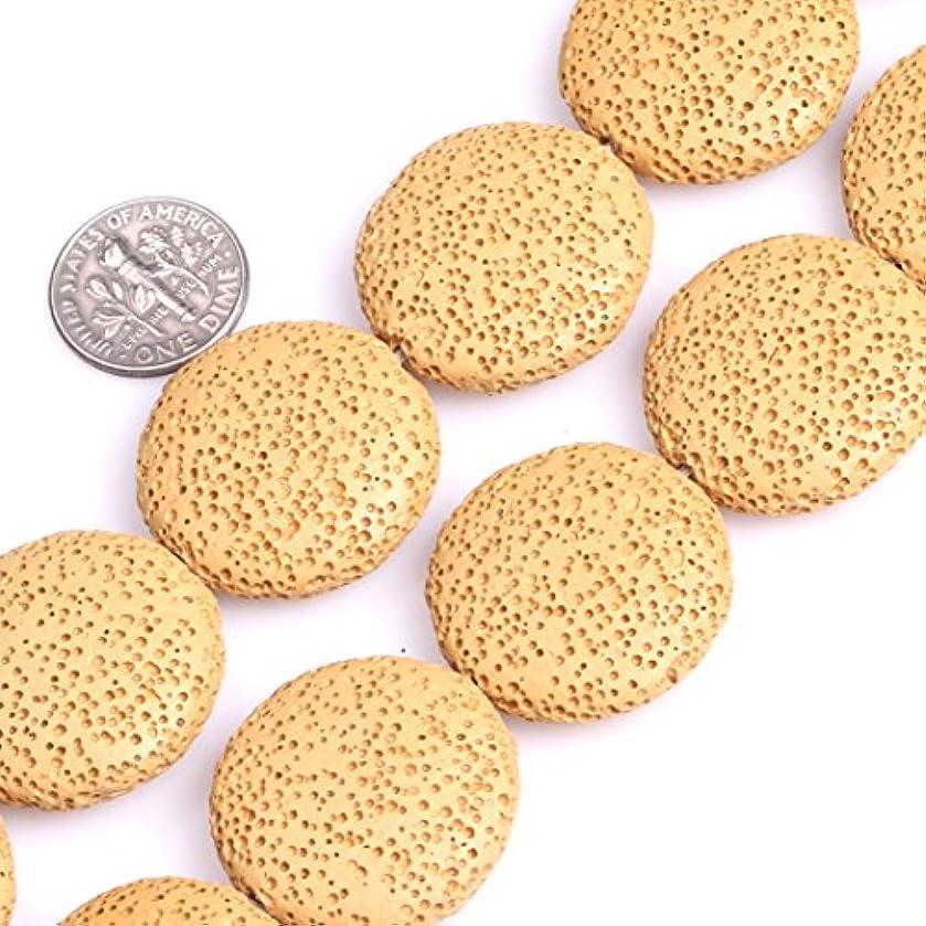 Lava Rock Beads for Jewelry Making Semi Precious Gemstone 27mm Coin Yellow Strand 15