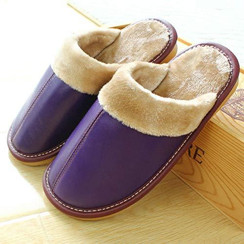 N/A Zapatillas de Alfombra para Hombre, Zapatillas de Suela Gruesa Antideslizantes de otoño e Invierno, Zapatillas de algodón cálidas para Parejas de Hombres y Mujeres -Purple_28 / 40-41 Yards