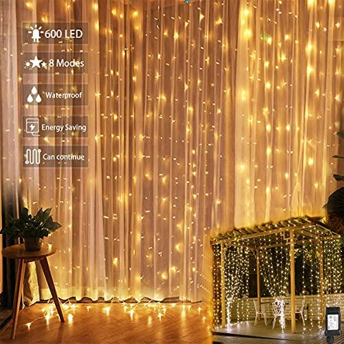 Led Tenda Luci 3x3 m,300 Led Impermeabilità Ip44 Cascata Luci con 8 Modalità di Illuminazione Decorazione di Nozze,Festa,Tenda Luminosa Decorazioni San Valentino,Giardino,Cena