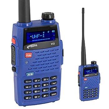 Rugged Radios V3 Dual Band  UHF/VHF  Handheld Radio with Antenna Battery Belt Clip Hand Strap and Battery Power Adapter