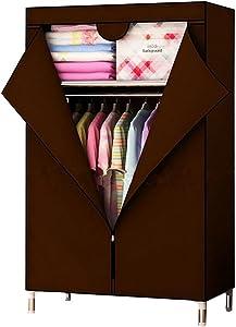 TINE HOME Armoire DIY Non tissé Pliable Portable Armoire de Rangement de Stockage de Combinaison Simples casiers, Marron, 88 * 45 * 160cm