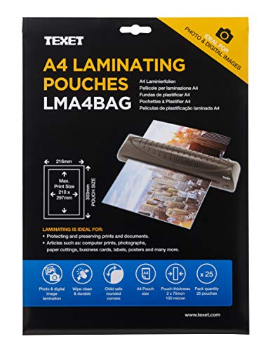 Texet A4 Size Waterproof Glossy Finish Laminating Pouches | Pack of 25 | 150 Micron (2 * 75 Micron) (25)