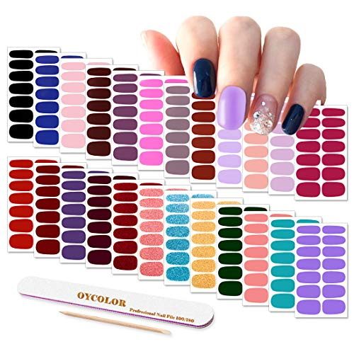 Nail Polish Stickers, DANNEASY 24 Sheets Adhesive Nail Wraps Strips Solid Color Nail Decals Manicure Kit 1Pc Nail File + Wood Cuticle Stick