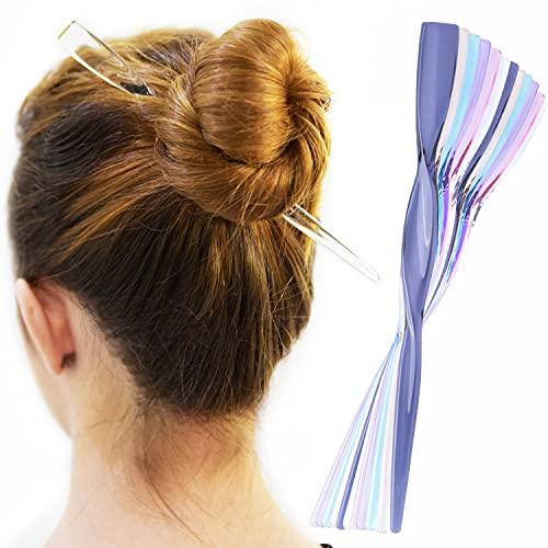 RC ROCHE ORNAMENT 12 Pcs Womens Fashion Hair Sticks Flat Twist Plastic Stylish Chopstick Bun Maker Updo Hairpins Premium Quality Beauty Accessory Girls Ladies, Medium Transparent Multicolor