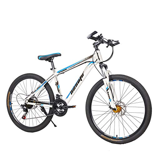 26 Inch Moutain Bike Carbon Steel Suspension Fork Bikes, 21 Speed Dual Disc Brake City Moutain Bicycle for Adults and Teens【US in Stock】