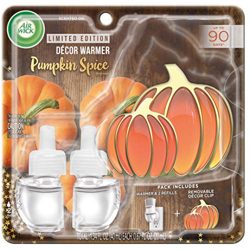Air Wick Plug in Scented Oil Starter Kit with Pumpkin Free Decorative Warmer + 2 Refills, Pumpkin Spice, Fall Scent, Fall Spray, (2x0.67oz), Essential Oils, Air Freshener