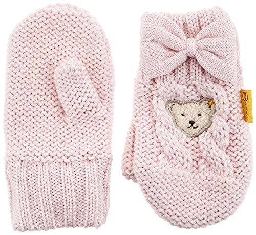 Steiff Mädchen mit süßer Teddybärapplikation Handschuhe, Rosa (Barely Pink 2560), 040