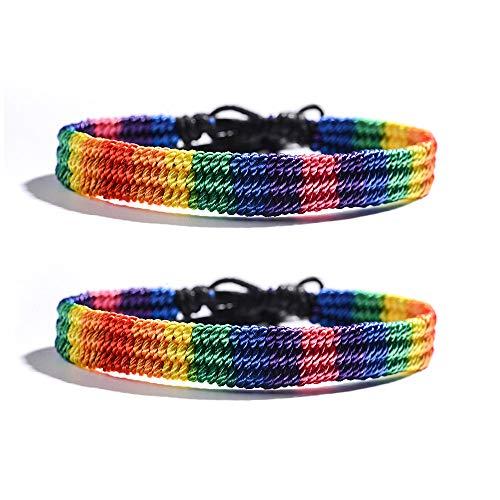 VU100 2PCS Rainbow LGBT Pride Bracelets Anklets Bracelet for Gay and Lesbian Handmade Friendship Braided String Adjustable Gifts for Men Women Teen Girls