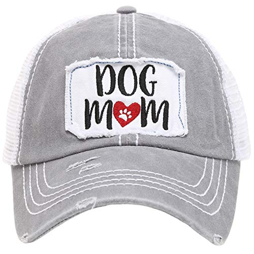 MIRMARU Women's Baseball Caps Distressed Vintage Patch Washed Cotton Low Profile Embroidered Mesh Snapback Trucker Hat (Dog Mom, Grey)
