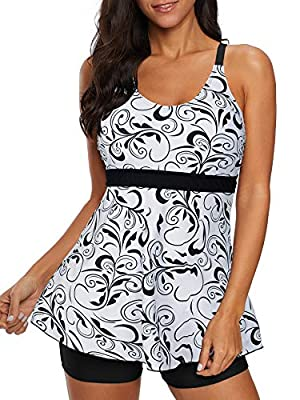 Tankini Swimsuits for Women Tummy Control Two Piece Bathing Suits Swimsuit White Print Large