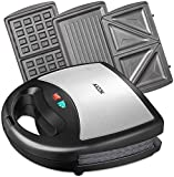 Aicok 3 in 1 Sandwich Maker 750W | Waffle Maker | Grill da tavolo | 3 set di...