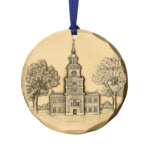 Philadelphia Cityscape Independence Hall Ornament, Metal, Handmade in the USA by Wendell August Forge