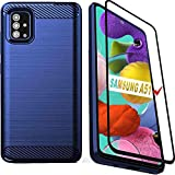 Samsung A51 Case, Galaxy A51 Case with Screen Protector, HNHYGETE Soft Slim Pretty Durable and Nice Looking Rubber Anti-Fingerprint Full Protective Phone Cases for Samsung Galaxy A51 4G (Blue)