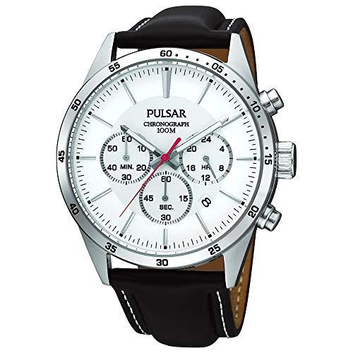 Pulsar Orologio da polso da uomo, XL, moderno, cronografo al quarzo, in pelle, PT3007X1