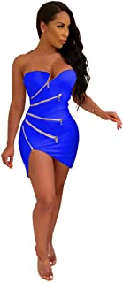 Zippers Strapless Asymmetrical Dress Solid Sleeveless Sheath Mini Night Club Party Dresses Women Sexy Outfits