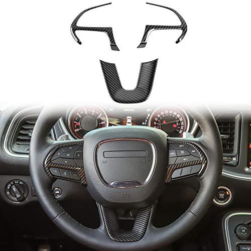 Voodonala for Challenger ABS Carbon Fiber Steering Wheel Trim for 2015-2019 Dodge Challenger, Charger, 2014-2019 Dodge Durango, Jeep Grand Cherokee SRT8