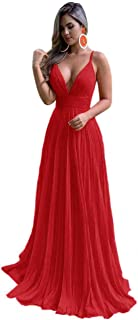 Jonlyc A Line Spaghetti Straps Deep V-Neck Chiffon Long Open Back Evening Bridesmaid Dresses