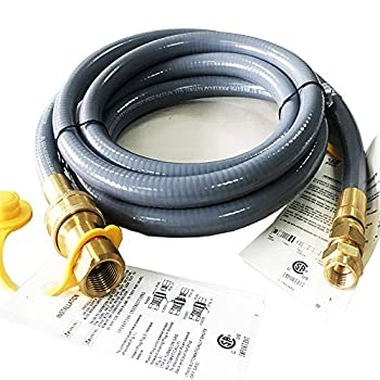GRILLJOB 10 Feet 1/2 ID Natural Gas Hose Conversion Kit Propane Gas Grill Quick Connect/Disconnect Hose Assembly with Adapter 1/2  Male Flare to 3/8  Female Flare for Outdoor NG/Propane Appliance