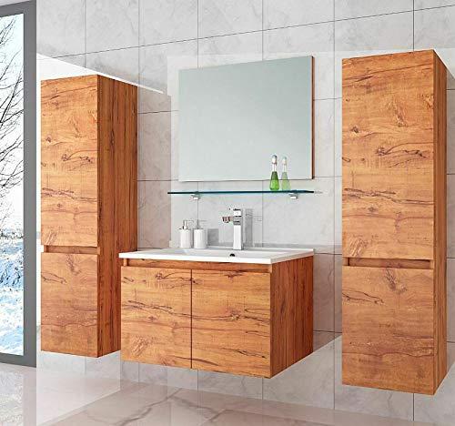 Badmöbel Set Eiche 60 cm Badezimmermöbel Hochschrank Waschtisch Spiegel Bad 6Teilig.