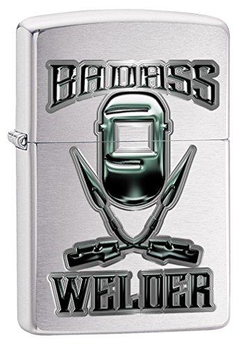 Zippo Custom Lighter: Badass Welder - Brushed Chrome 78810