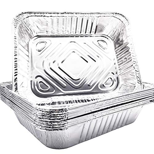 10 Pack - 9'x 13' Aluminum Pans Disposable Aluminum Foil Meal Prep Cookware, Sturdy Half Size Deep Steam Table Pans for Baking,Cooking,Roasting & Reheating